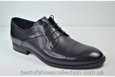 Мужские кожаные туфли полуброги черные IKOS 3801 - 1