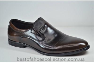 Мужские кожаные туфли на резинке коричневые Nord 455