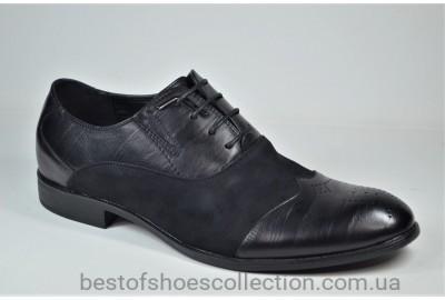 Мужские туфли полуброги черные Desay 0120 - 211