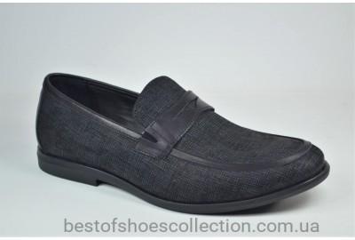 Мужские кожаные туфли лоферы черные с серым Cevivo 4792