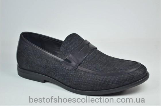 Мужские туфли лоферы черные с серым Cevivo 4792