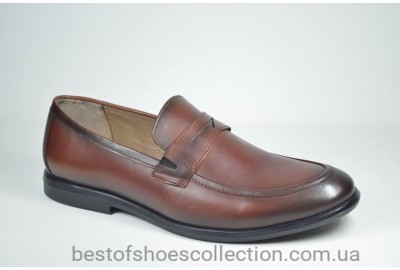 Мужские кожаные туфли лоферы рыжие Cevivo 4792