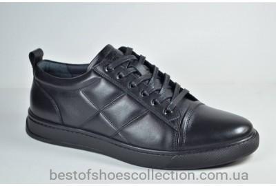 Мужские спортивные туфли кожаные кеды черные Cevivo 5202