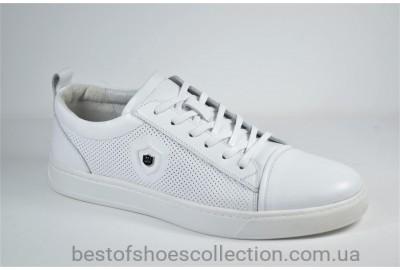 Мужские спортивные туфли кожаные кеды белые Cevivo 5203