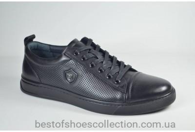 Мужские спортивные туфли кожаные кеды черные Cevivo 5203