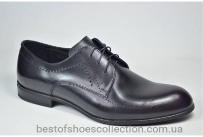 Мужские кожаные туфли черные с бордовым IKOC 3411 - 9