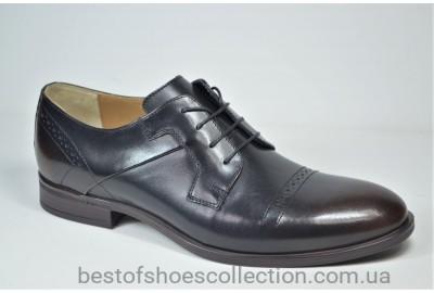 Мужские кожаные туфли полуброги черные с коричневым IKOS 3801 - 5