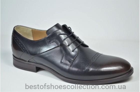 Мужские кожаные туфли черные с коричневым IKOS 3801 - 5