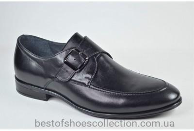 Мужские кожаные туфли монки черные L-Style 1286