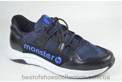 Подростковые кожаные кроссовки синие Monster ХАН