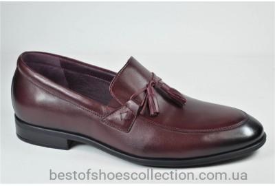 Мужские кожаные туфли лоферы бордовые L-Style 1223 - 3