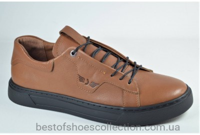 Мужские спортивные туфли кожаные кеды рыжие Safari 812 - 0 - 393