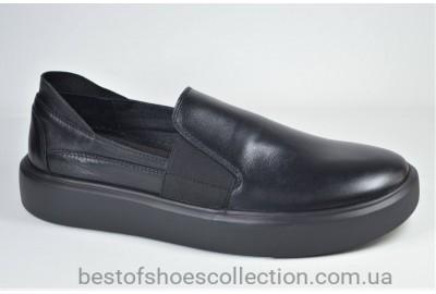 Мужские кожаные туфли слипоны черные Safari 832 - 0 - 101