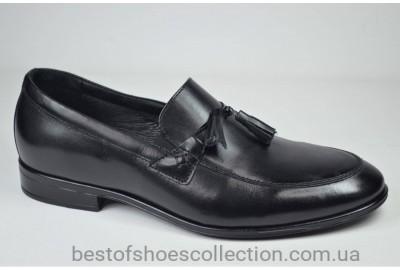 Мужские кожаные туфли лоферы черные L-Style 1223