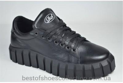 Женские стильные кожаные туфли кеды черные Road Style 049 - 01