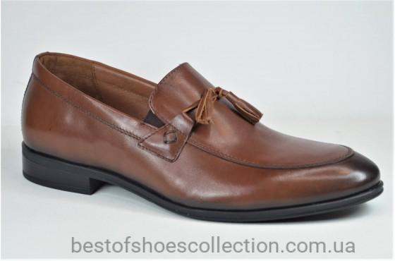 Мужские кожаные туфли рыжие L-Style 12231