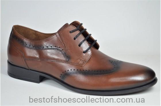Мужские кожаные туфли рыжие L-Style 12691