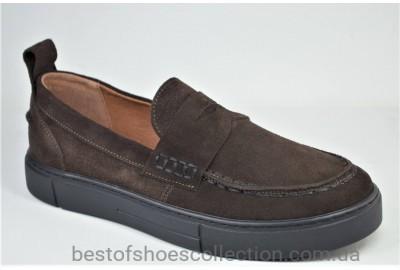 Мужские замшевые туфли лоферы коричневые Safari 802 - 0 - 959