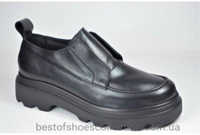 Женские кожаные туфли лоферы на платформе черные Safari 622 - 5 - 101