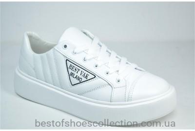 Женские комфортные туфли кожаные кеды белые Best Vak 1016 - 06
