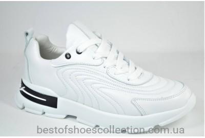 Женские стильные кожаные кроссовки белые Best Vak 1027 - 06