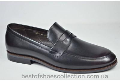 Мужские кожаные туфли лоферы черные с бордовым IKOS 008 - 6