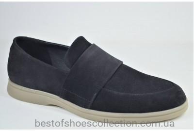 Мужские комфортные замшевые туфли лоферы черные eD - Ge Camil