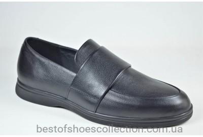 Мужские комфортные кожаные туфли лоферы черные eD - Ge Camil