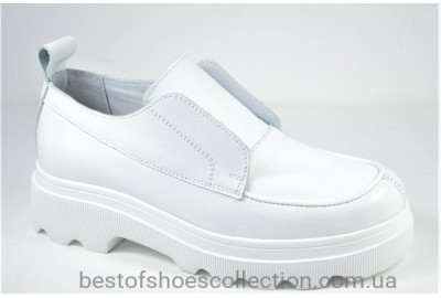 Женские кожаные туфли лоферы на платформе белые Safari 622 - 5 - 505