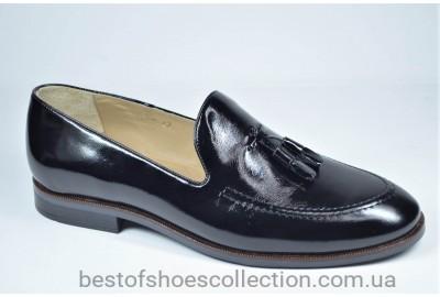 Мужские кожаные лаковые туфли лоферы черные IKOS 010 - 2