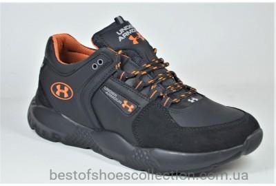 Мужские кожаные кроссовки черные в стиле U 1