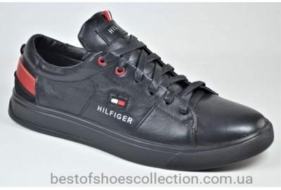 Мужские спортивные туфли кожаные кеды черные Rivest в стиле Кед ч/кр.