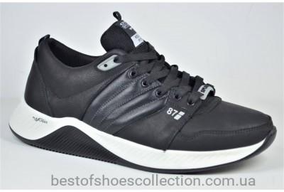 Мужские кожаные кроссовки черные с белым Splinter 0621