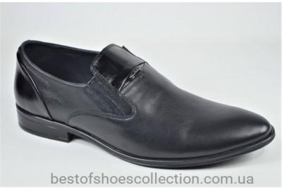Мужские кожаные туфли на резинке черные Slat 19451