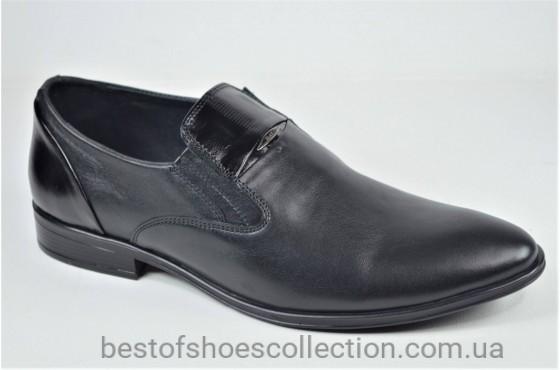 Мужские кожаные туфли черные Slat 19451