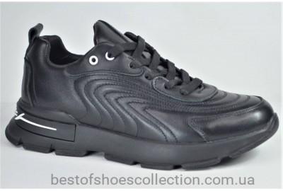 Женские стильные кожаные кроссовки черные Best Vak 1027 - 01