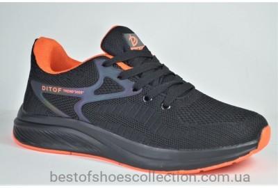 Подростковые и женские кроссовки сетка черные с оранжевым Ditof 5023 - 4