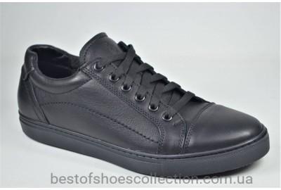 Мужские спортивные туфли кожаные кеды черные Step Wey 5569 Titan