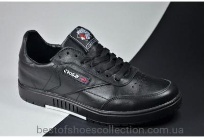 Подростковые спортивные кожаные туфли черные CROSSAV 58