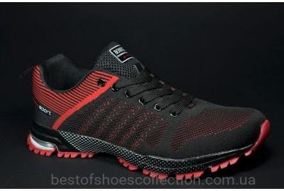Подростковые кроссовки сетка черные с красным Bonote 8619 B - 4