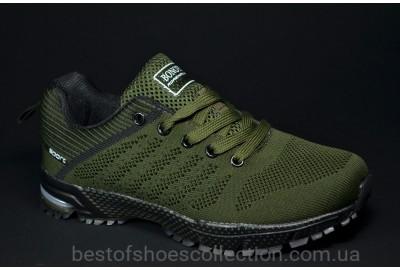 Подростковые кроссовки сетка цвета хаки Bonote 8619 B - 17