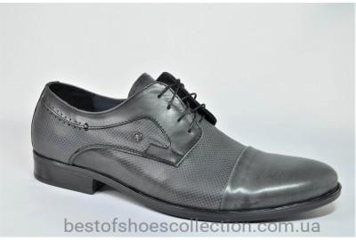 Мужские кожаные туфли с тиснением серые Л - Шик 69