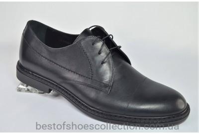 Мужские демисезонные кожаные туфли черные IKOS 1688 - 2