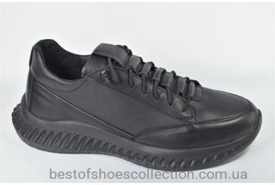 Мужские кожаные кроссовки черные Rondo 377/0051/T/R
