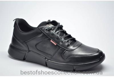 Мужские кожаные кроссовки черные Krastfor 007326