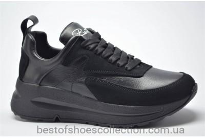 Женские кожаные кроссовки черные Best Vak 1021301