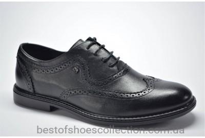 Мужские кожаные туфли броги черные L-Style 1260