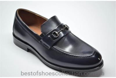 Мужские лаковые кожаные туфли лоферы темно - синие Marriotti 075