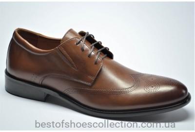 Мужские кожаные туфли броги рыжие Marriotti 210