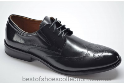 Мужские кожаные туфли броги черные Marriotti 210